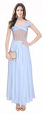Baby Blue Embroidered Designer Evening Gown