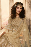 Beige Gold Designer Heavy Embroidered Net Wedding & Bridal Lehenga-Saira's Boutique