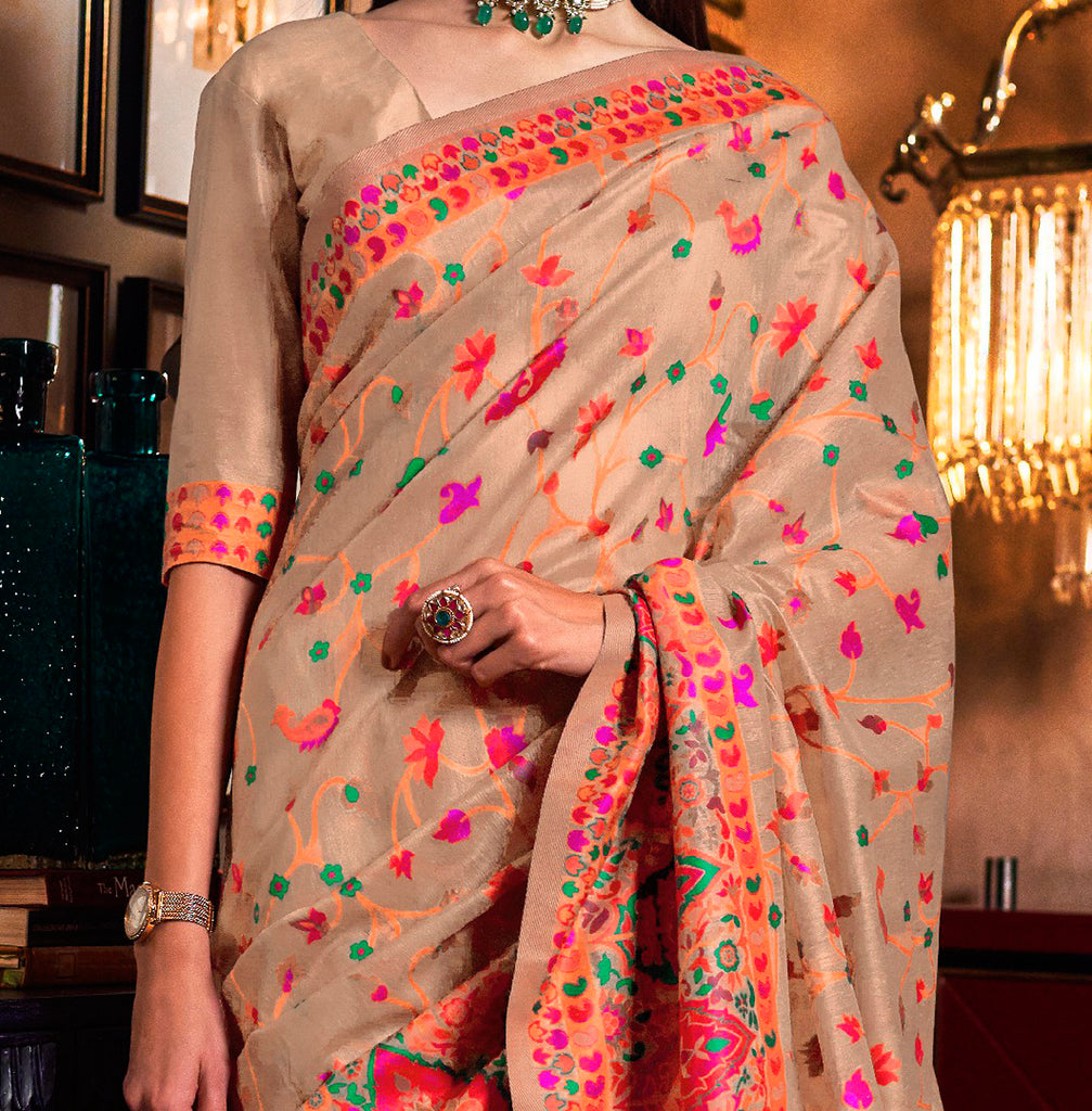 Beige Multicolor Designer Embroidered Silk Wedding Saree-Saira's Boutique