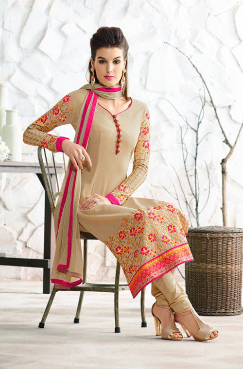 Beige Designer Embroidered Churidar Suit