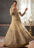 Beige Designer Heavy Embroidered Net Wedding Layered Anarkali Gown-Saira's Boutique