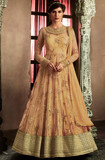 Beige Gold Designer Embroidered Net Wedding Bridal Anarkali Suit-Saira's Boutique