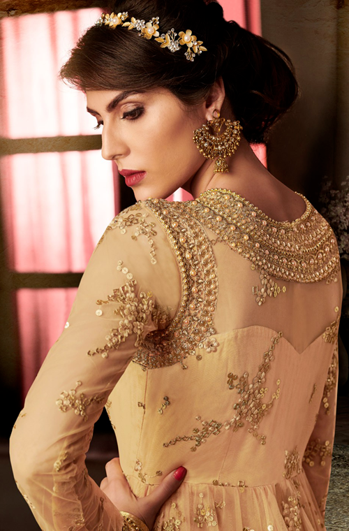Beige Gold Designer Embroidered Net Wedding Anarkali Suit-Saira's Boutique