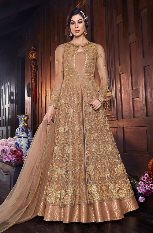 Beige Gold Designer Embroidered Silk Bridal Anarkali Gown-Saira's Boutique