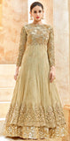 Beige & Gold Designer Heavy Embroidered Net Anarkali Suit