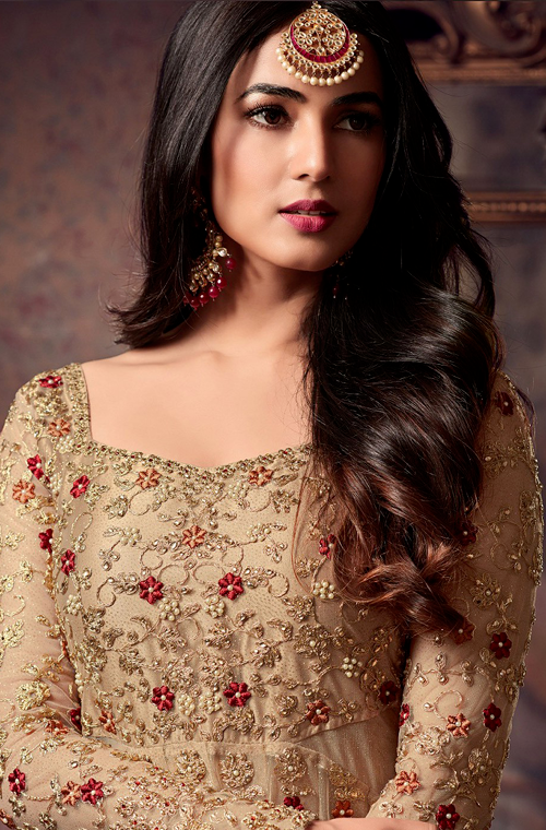 Beige & Gold Designer Heavy Embroidered Net Wedding Anarkali Suit