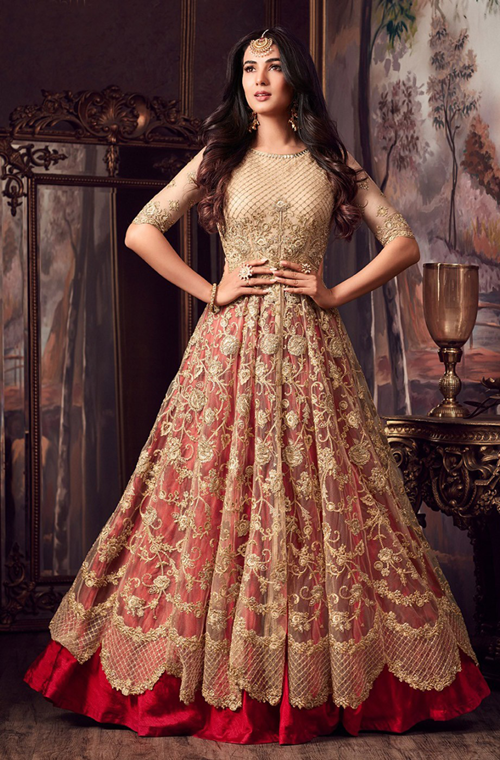 Beige Gold Amp Red Designer Embroidered Net Wedding Anarkali