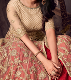 Beige Gold & Red Designer Embroidered Net Wedding Anarkali Suit-Saira's Boutique