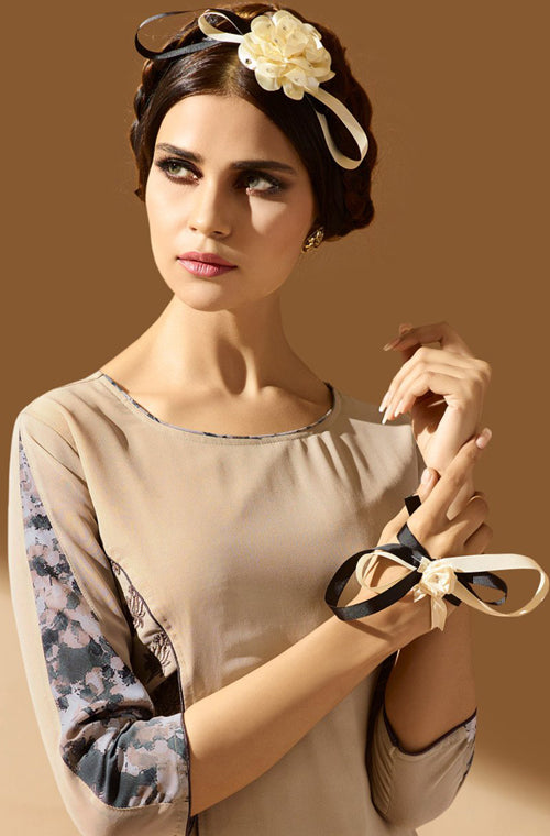 Beige & Gray Embroidered Georgette Indo-Western Kurti