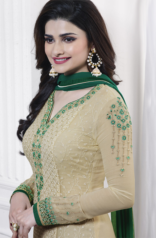 Beige & Green Georgette Designer Embroidered Churidar Suit