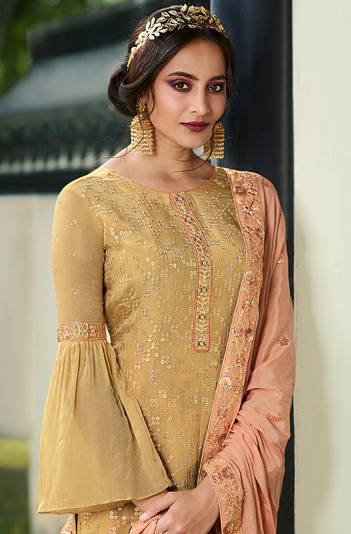 Beige & Light Peach Designer Embroidered Wedding Palazzo Suit-Saira's Boutique