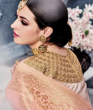 Beige & Light Peach Designer Embroidered Pure Banarasi Silk Wedding Lehenga Choli