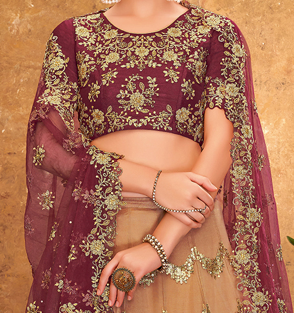 Beige & Maroon Designer Heavy Embroidered Net Wedding Lehenga-Saira's Boutique