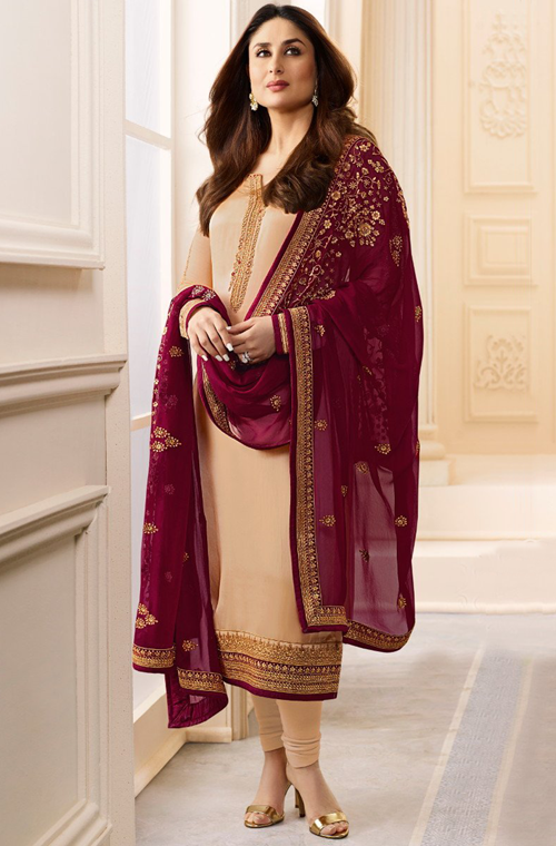 Beige & Maroon Designer Embroidered Crepe Churidar Suit