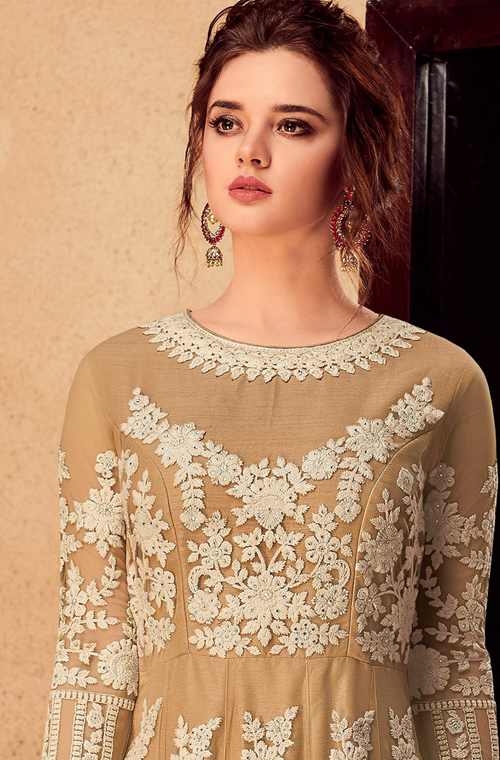 Beige & Off White Designer Embroidered Silk Party Wear Wedding Anarkali Suit-Saira's Boutique
