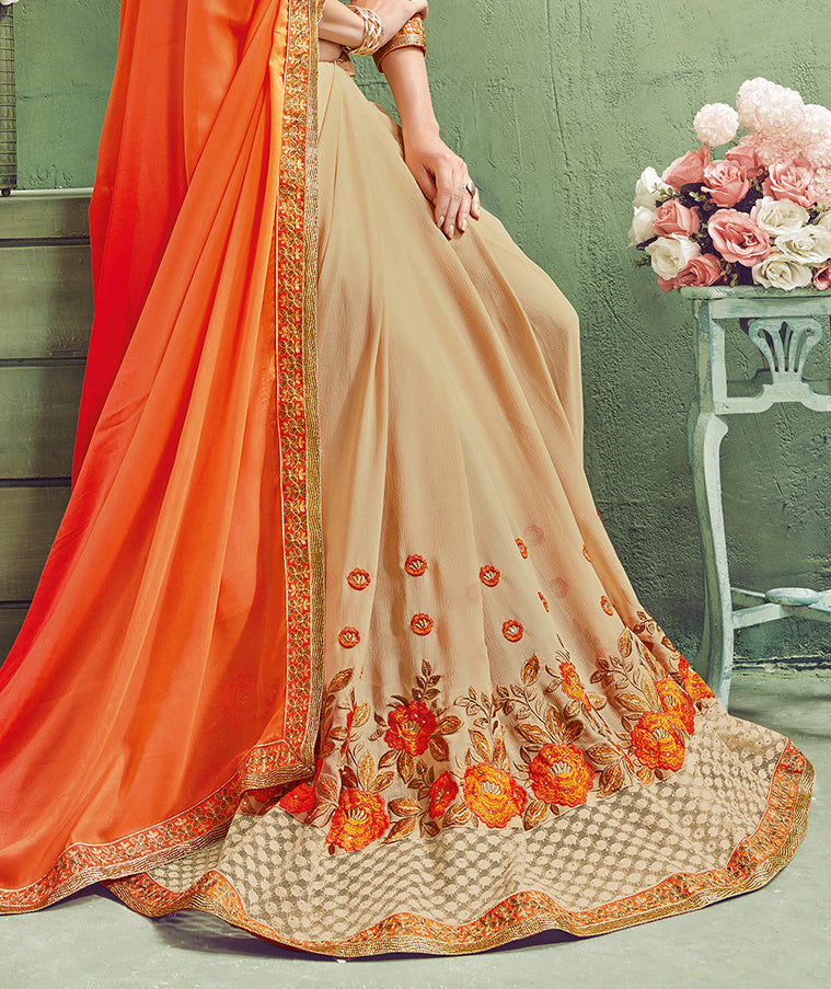 Beige & Orange Designer Embroidered Party Wear Georgette Saree-Saira's Boutique