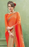 Beige & Orange Designer Embroidered Party Wear Georgette Saree
