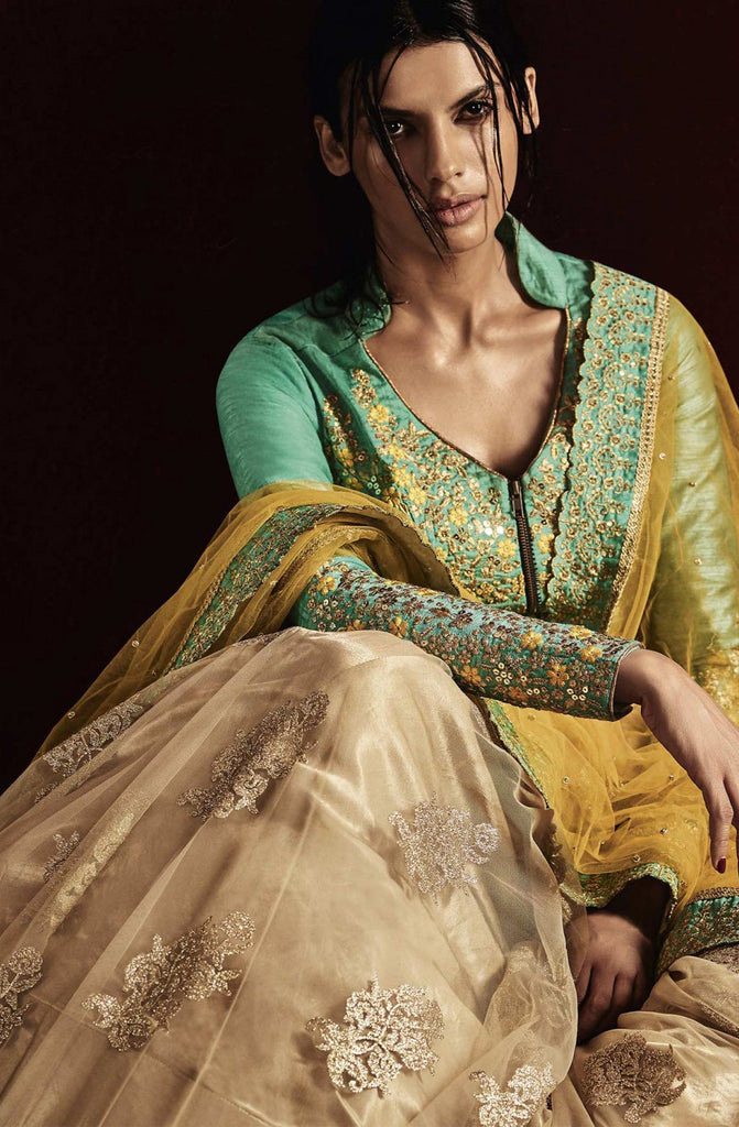 Beige & Turquoise Green Designer Embroidered Bridal Lehenga-Saira's Boutique