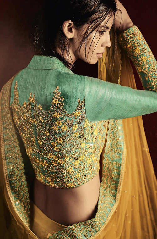 Beige & Turquoise Green Designer Embroidered Bridal Lehenga