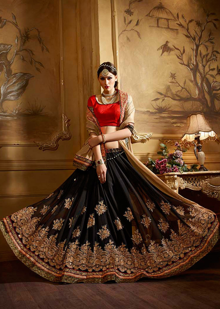 Beige & Black Designer Embroidered Party Wear Saree
