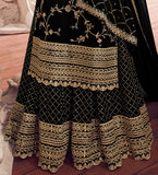 Black Designer Embroidered Georgette Sharara Suit-Saira's Boutique