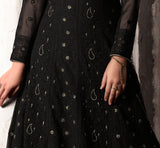 Black Designer Embroidered Party Wear Georgette Anarkali Suit-Saira's Boutique