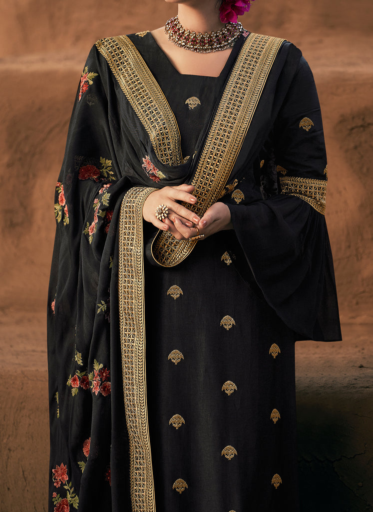 Black Designer Embroidered Silk Party Wear Palazzo Suit-Saira's Boutique