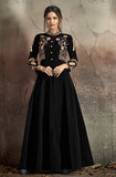 Black Designer Embroidered Taffeta Silk Party Wear Gown-Saira's Boutique