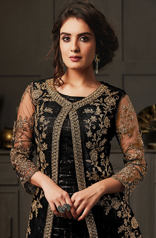 Black Designer Heavy Embroidered Jacket Style Palazzo Suit-Saira's Boutique