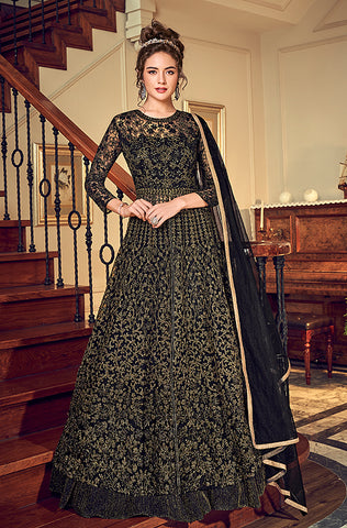 Black Designer Embroidered Taffeta Silk Party Wear Gown