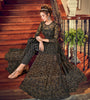 Black Designer Heavy Embroidered Net Wedding Anarkali Gown-Saira's Boutique