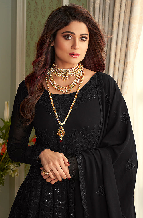 Black Designer Heavy Embroidered Wedding Anarkali Suit-Saira's Boutique
