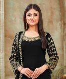 Black Designer Embroidered Art Silk Party Wear Patiala Suit-Saira's Boutique