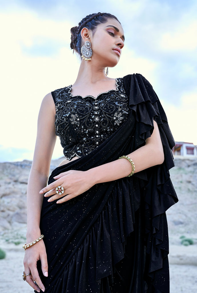 Black Designer Embroidered Fancy Party Wear Frill Saree-Saira's Boutique