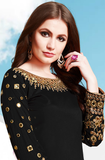 Black Designer Embroidered Mirror Work Patiala Suit-Saira's Boutique