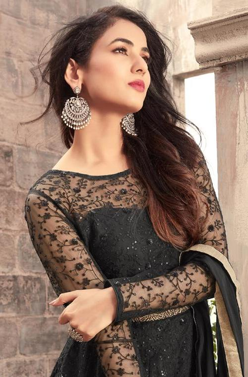 Black Designer Embroidered Net Party Wear Anarkali Suit-Saira's Boutique