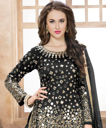 Black Designer Embroidered Silk Party Wear Patiala Suit