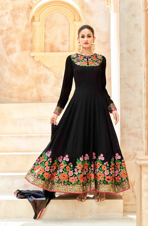 Black Designer Heavy Embroidered Georgette Anarkali Suit-Saira's Boutique