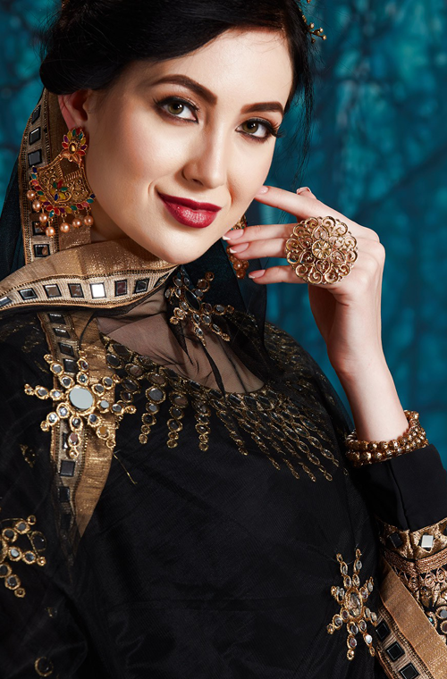 Black Designer Heavy Embroidered Georgette Wedding Anarkali Suit-Saira's Boutique