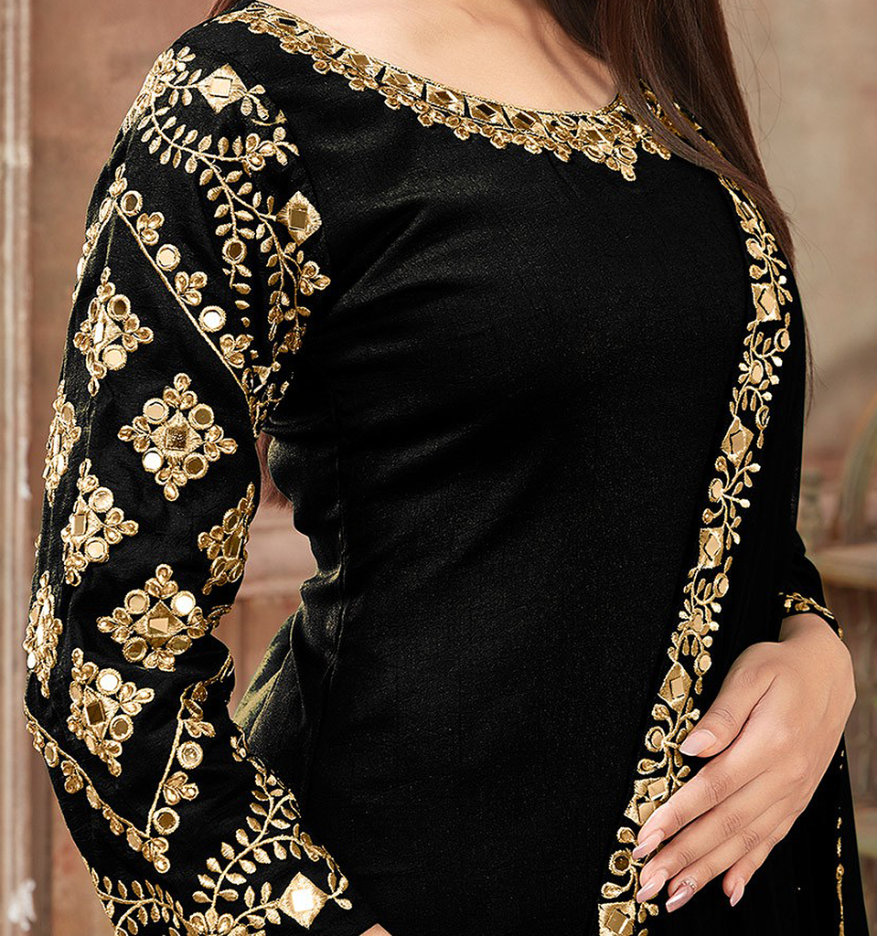 Black & Gold Designer Embroidered Art Silk Patiala Suit-Saira's Boutique