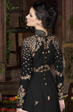 Black & Gold Designer Embroidered Georgette Gown