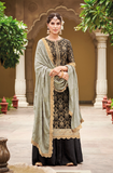 Black & Gray Designer Embroidered Silk Jacquard Gharara Suit-Saira's Boutique