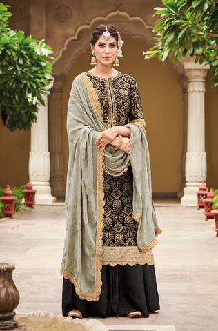 Aqua Green Designer Heavy Embroidered Net Sharara Suit