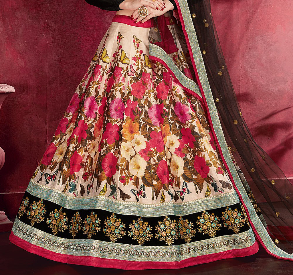 Black Multicolor Designer Embroidered Silk Floral Print Lehenga Choli-Saira's Boutique