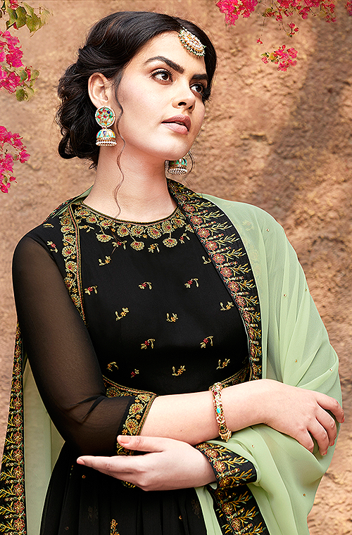 Black & Pastel Green Designer Embroidered Party Wear Anarkali Suit-Saira's Boutique