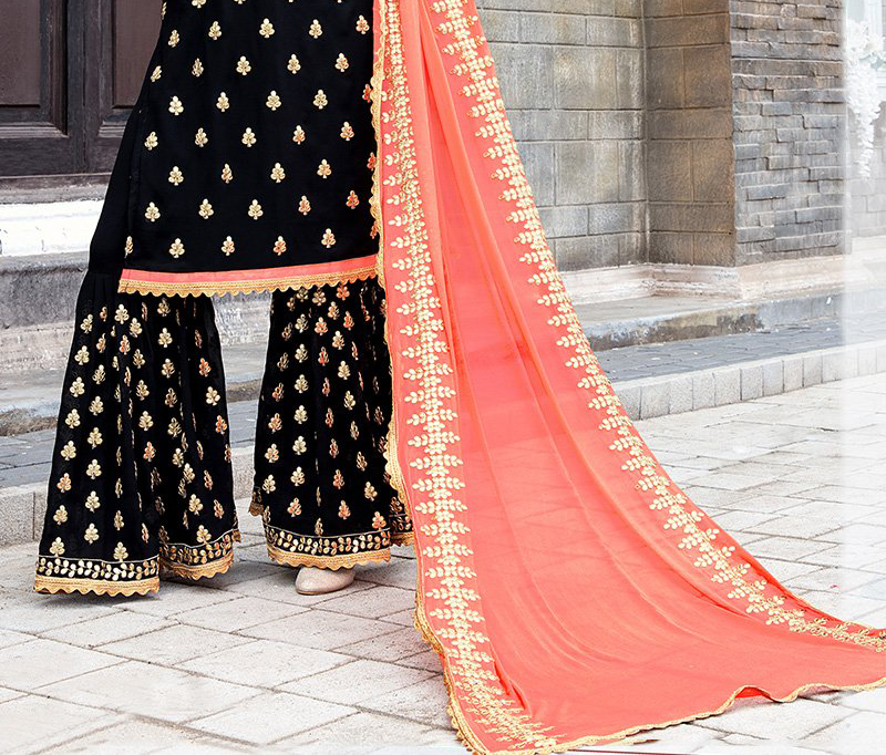 Black & Peach Designer Heavy Embroidered Georgette Wedding Gharara Suit-Saira's Boutique