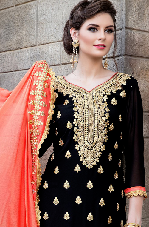 Black & Peach Designer Heavy Embroidered Georgette Wedding Gharara Suit