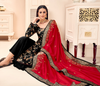 Black & Red Designer Embroidered Silk Jacquard Palazzo Suit-Saira's Boutique