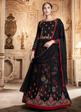 Black & Red Designer Embroidered Georgette Anarkali Suit-Saira's Boutique