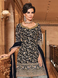 Black & Sage Gray Designer Embroidered Wedding Gharara Suit-Saira's Boutique